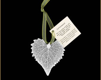 Real Cottonwood Leaf Ornaments Dipped In Silver with Ribbon and Hang Tag - Real Dipped Leaves - Christmas Ornaments