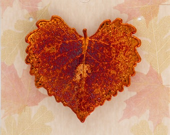 Real Cottonwood Leaf Dipped In Iridescent Copper Pins - Bar Pins - Brooches - Real Dipped Leaves - Carded