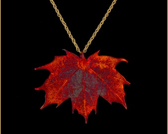 Pendant Heart Necklace Aspen Leaf Pendant Leaves Autumn Orange Jewelry Gift for Mothers Organic Leaf Necklace Long Copper Leaf Necklace