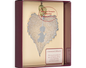 Real Cottonwood Leaf Dipped In Silver With Prayer Angels Silhouette Boxed - Real Dipped Leaves - Christmas Ornaments