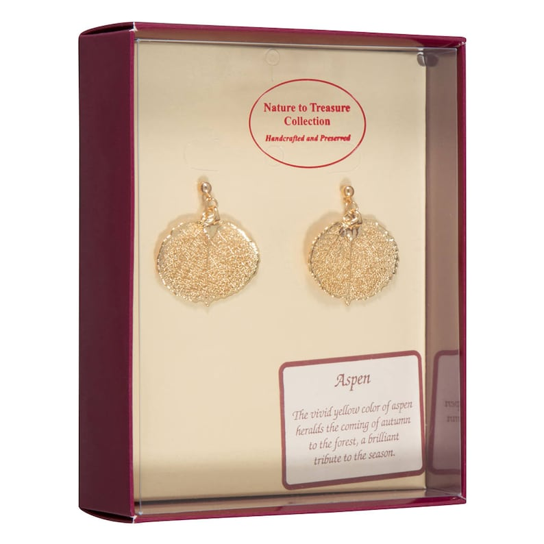 24k Gold Electroplated Post Dangle Earrings Boxed Real Aspen Leaves Dipped In 24k Gold