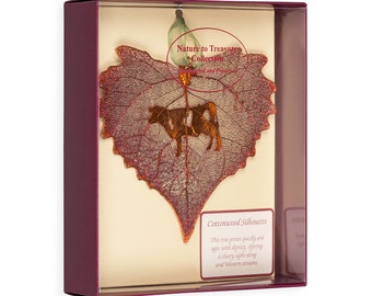 Real Cottonwood Leaf Dipped In Iridescent Copper With Cow Silhouette Boxed - Real Dipped Leaves - Christmas Ornaments
