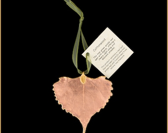 Copper Lacquer Real Cottonwood Leaf Ornaments with Ribbon and Hang Tag - Real Dipped Leaves - Christmas Ornaments