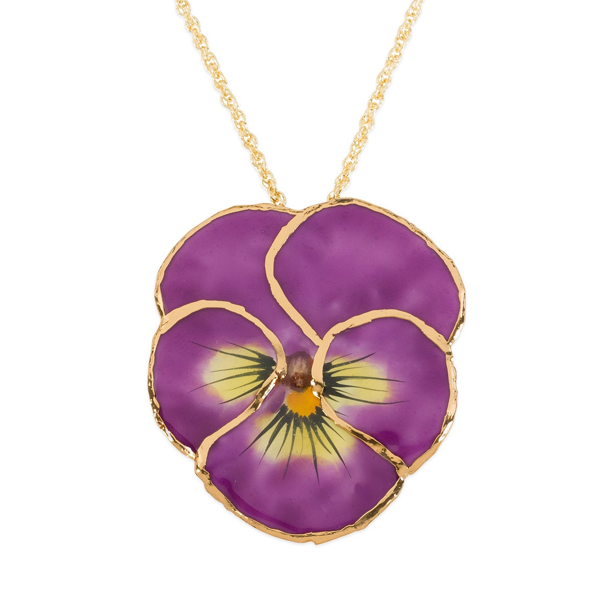 lavendar pansy necklace
