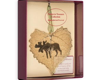 Real Cottonwood Leaf Dipped In 24k Gold With Moose Silhouette Boxed - Real Dipped Leaves - Christmas Ornaments