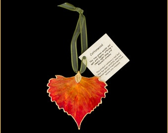 Burnt Orange Lacquer Real Cottonwood Leaf Ornaments with Ribbon and Hang Tag - Real Dipped Leaves - Christmas Ornaments