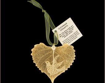 Real Cottonwood Leaf Dipped In 24k Gold With Dove Silhouette - Ribbon & Hang Tag - Real Dipped Leaves - Christmas Ornaments