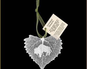 Real Cottonwood Leaf Dipped In Silver With Buffalo Silhouette - Ribbon & Hang Tag - Real Dipped Leaves - Christmas Ornaments