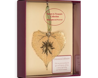 Real Cottonwood Leaf Dipped In 24k Gold With Sun Silhouette Boxed - Real Dipped Leaves - Christmas Ornaments