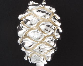 Real Silver Sequoia Pine Cone Ornaments with Ribbon and Hang Tag - Christmas Ornaments