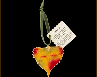 Multi Color Lacquer Real Cottonwood Leaf Ornaments with Ribbon and Hang Tag - Real Dipped Leaves - Christmas Ornaments