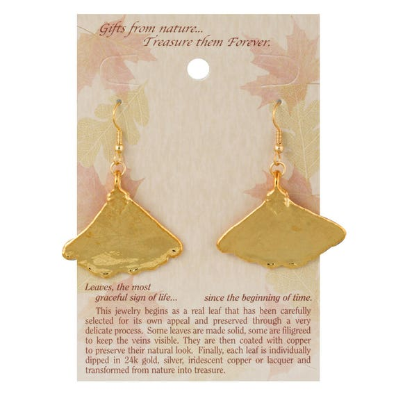 Real Eucalyptus Leaves Dipped In 24k Gold French Hook Earrings 24k Gold Electroplated Boxed