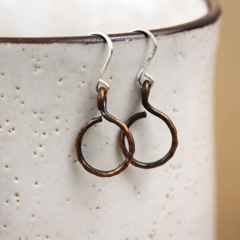 Small Copper Single Hoop Drop Earrings image 0
