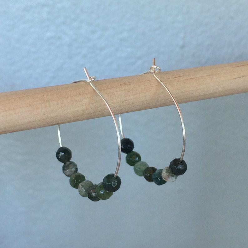 Moss Agate Hoop Earrings image 0