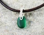 Tiny Green Sea Glass  & Silver Pendant