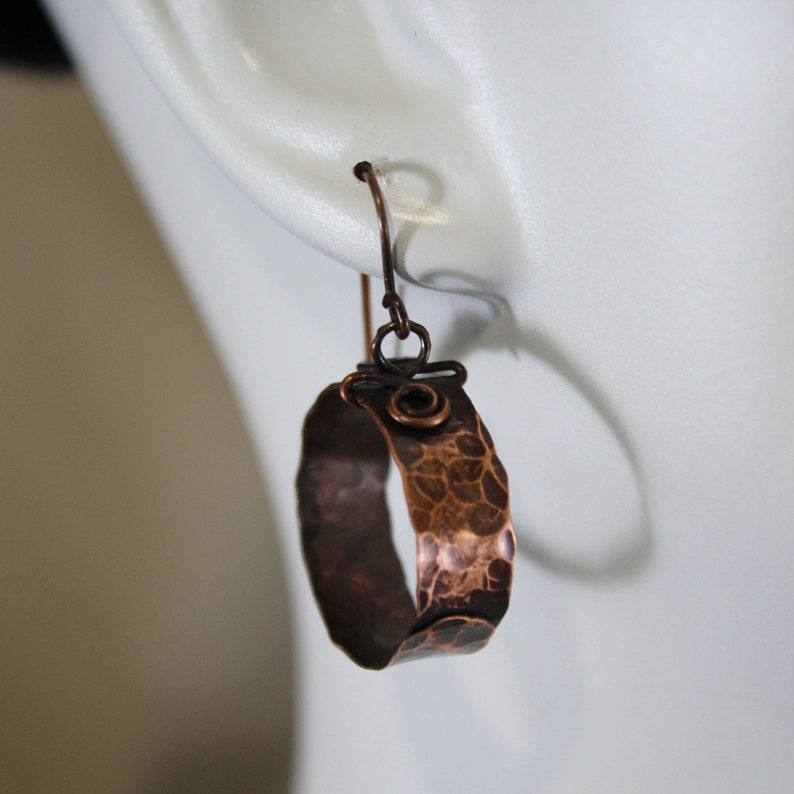 Boho Rustic Hammered Copper Wrapped Hoop/Dangle Earrings image 0