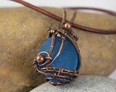 """Blue Sea Glass & Copper """"Boat"""" Pendant"""