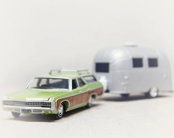 Vintage Station Wagon, Toy Photograph, Nursery Decor Boy, Wall Art Print, army green, Airstream camper, Chevy Kingswood, Whimsical Decor