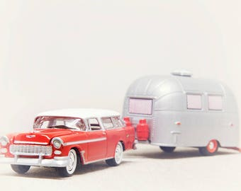 Boys Room Wall Art, Nursery Decor Boy, Toy Car Print, Retro Decor, Chevy Nomad, Airstream Camper, Kid Bedroom, Vintage Car Print, Cherry Red