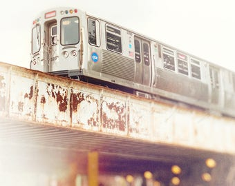 Chicago Art, Train Photography, Wall Art Print, Chicago Photograph, Rogers Park, CTA Red Line, Boys Room, Urban Home Decor, Nursery Artwork