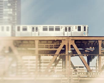 Chicago Wall Art, Train Photography, CTA Trains, Chicago Artwork - Lake Street, Loop Photograph, pale blue, light beige, Chicago L Wall Art