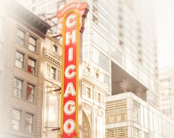 Chicago Theater Sign, State Street, Chicago Photography, Wall Art Prints, Urban Photograph, Golden yellow, white home decor, crimson red