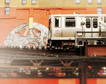 Train Wall Art Print, Chicago Skyline, CTA Loop Decor, Green Line - Dark Orange, Brick Red, Beige Artwork, Cityscape Chicago, Pop of Color