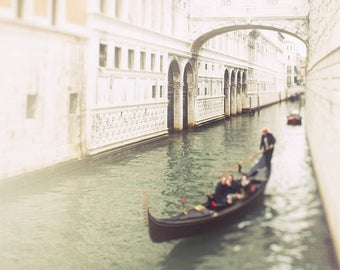 Venice Photograph, Bridge of Sighs, Gondola Print, Landscape Decor - Travel Photography, Italy Art, dark green, white wall art, pale orange