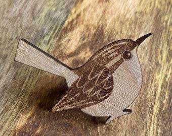 Wood Pin   Wren Illustration   Bird Art   Gifts Under 10
