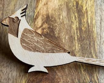 Wood Cardinal Pin   Laser Engraved Bird Pin   Gifts Under 10
