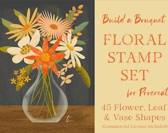 Procreate Flower and Leaf Stamps   Floral Stamp Brushes for Procreate   Botanical Procreate Shapes   Color Palette