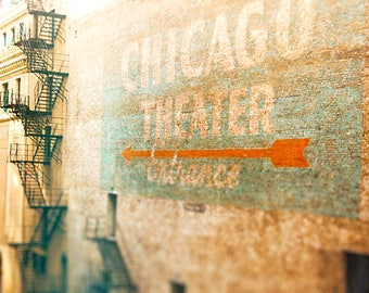 Chicago Photography, Ghost Sign, Chicago Theater, Urban Art Print - Fire Escape Art, bright orange, pale blue, Chicago print, Art for Walls