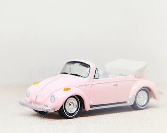 Pink VW Bug, Toy Photograph, Nursery Print, Girls Room, Wall Decor, Toy Car Photography, Nursery Decor Girl, Baby Girl, Whimsical Office Art