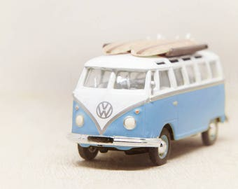Vintage VW Bus, Toy Photograph, Wall Art Print, Nursery Wall Decor, Light Blue, Girls Room, Surfboard Art, Whimsical Office, Kids Room Art