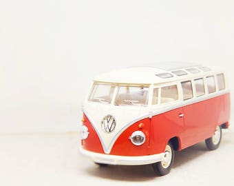 Red VW Bus Print, Toy Photograph, Boys Room Decor, Kids Room Decor, Nursery Wall Art, Whimsical Office Art, Girls Room, Baby Nursery Decor