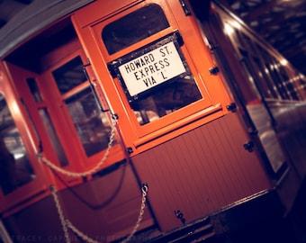 Vintage Chicago Train Art | Color Photography | Howard St Express | orange, brown, earth tones | CTA train | Chicago transit art | playroom