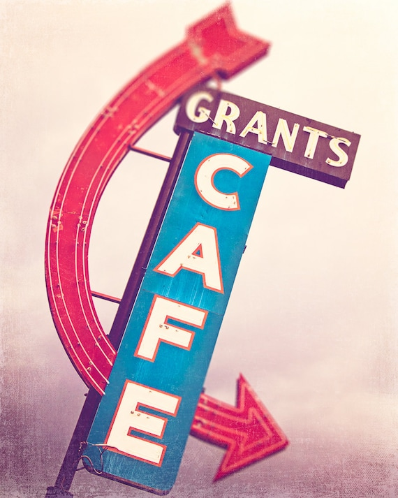 Kitchen Wall Art Route 66 Photograph Grants Cafe Retro Decor Cafe Walls Cherry Red Teal Blue Eggplant Purple Travel Photography