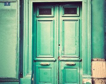 Green Paris Door, Paris Photography, Art for Walls, Paris Prints - Sea Foam, Mint Green, Montmartre Photo, Door in Paris, Travel Home Decor