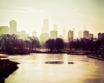 Chicago Skyline, Cityscape Art, Chicago Wall Art, Lincoln Park Art, city photography, Burgundy, beige, foggy skyline, north pond, photograph