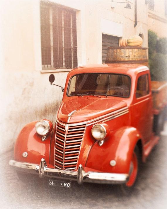 Fiat Truck Photograph, Tomato Red Wall Decor, Italy Wall Art Print,  pomodoro, vintage car print, old car, Trastevere, Rome Italy, Travel Art