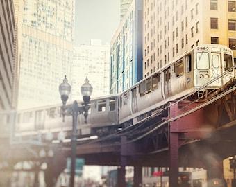 Chicago Train Photography - Skyline Wall Art - Urban Home Decor - CTA Photograph - Loop - El L Trains - Landscape - maroon, blue, orange