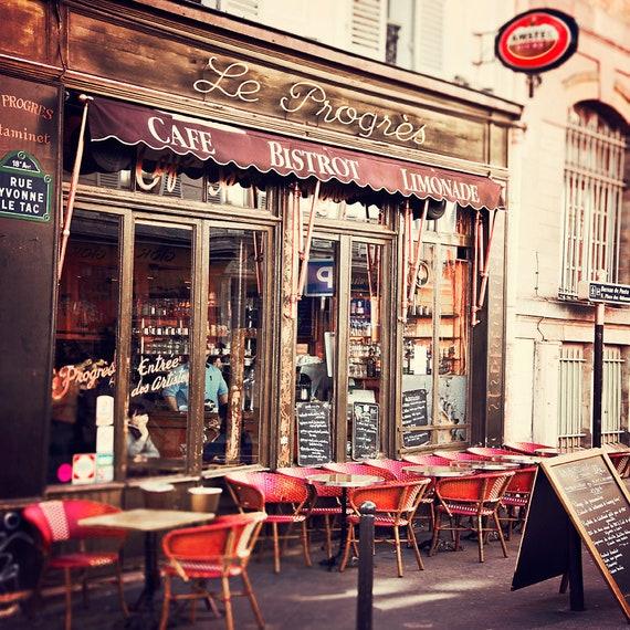 Paris Photograph Le Progres Cafe Parisian Bistro Wall Art | Etsy
