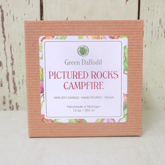 Camping Pictured Rocks Campfire Tealights 4 Pack Green Daffodil Michigan State Park