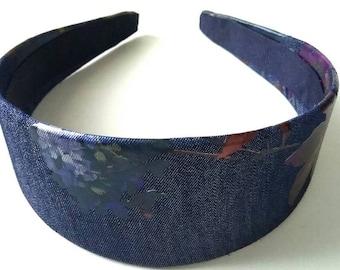 Denim Floral  Headband 2 Inch