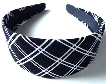 Black & White Striped Headband 2 Inch