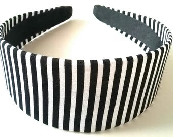 Black White Striped Headband 2 Inch