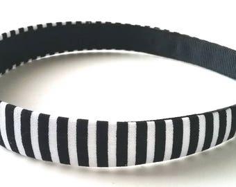 Black White Striped Headband 3\4 Inch