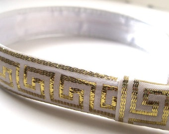 White and Gold Leather Headband 1 Inch