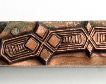 tiny ART DECO Border Design 1903-1953 Antique GERMAN Copper Letterpress Cut printing block Diamond Shapes Argyle