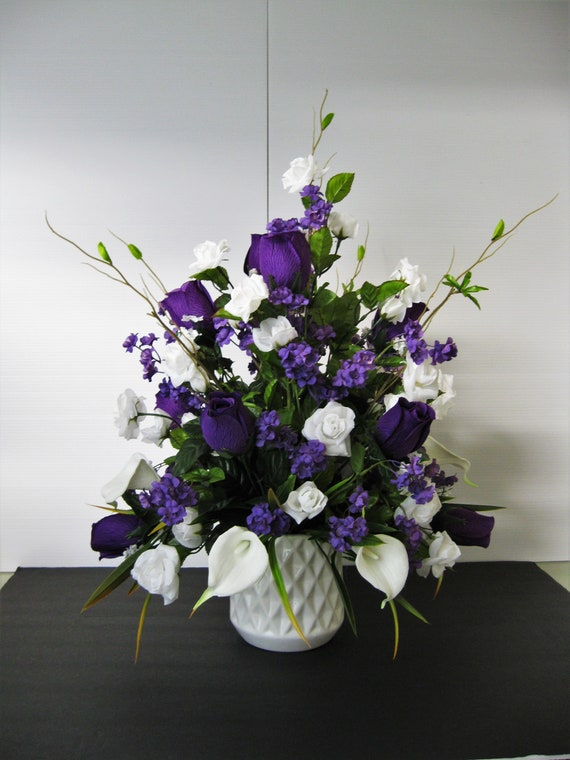 flower roses Silk floral calla Lily Purple Details about  /Tall lavender arrangem white